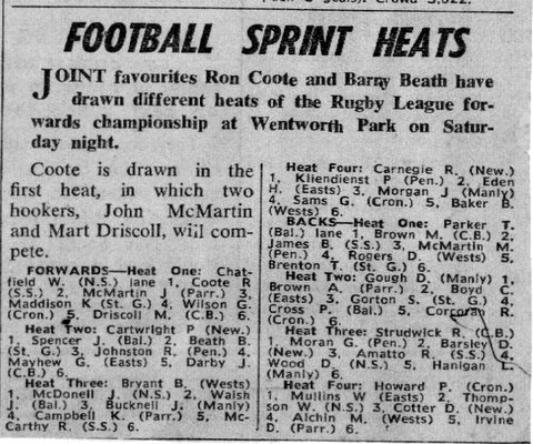 1969 running sprint heats @ wenty park