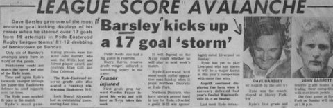 1972 dave scoires 17 goals in one game