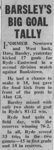 1972 dave scores 17 goals v bankstown