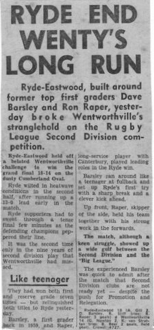 1972 story of ryde beating wenty in gf