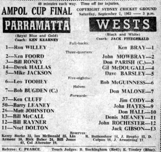 Wests v Parr @SCG Ampol Cup Final 1963 teams