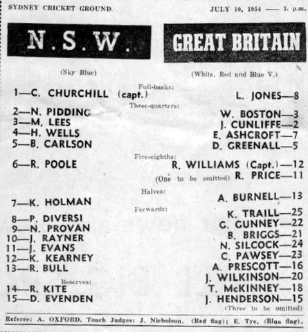 1954 b NSW v GB program