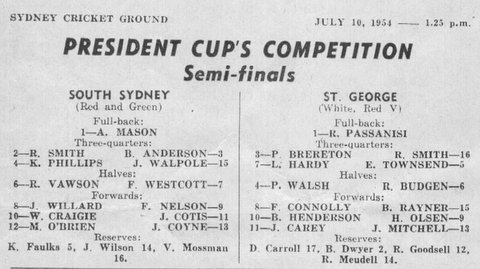1954 b P Cup Semi final program game before Nsw v GB match