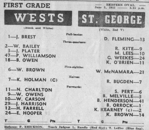 1955 b maybe first grade game program v Wests