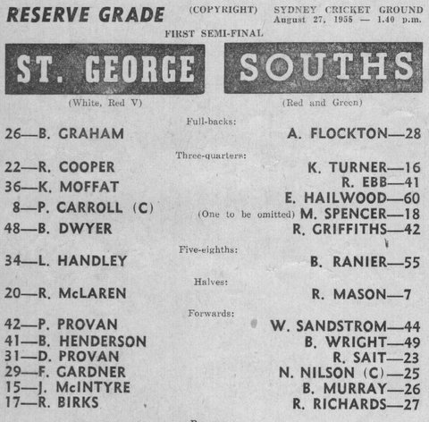 1955 b reserve grade semi final program StG v SS