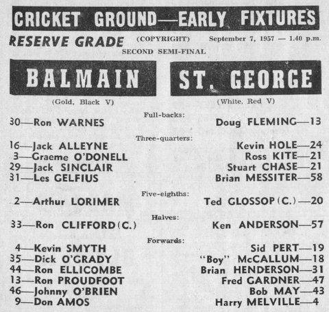 1957 b Balmain v StG semi final reserve grade program