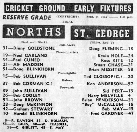 1957 b StG v Norths reserve grade final program