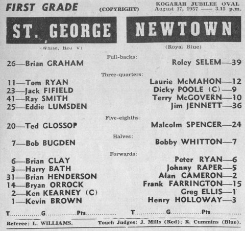 1957 b Stg v Newtown program