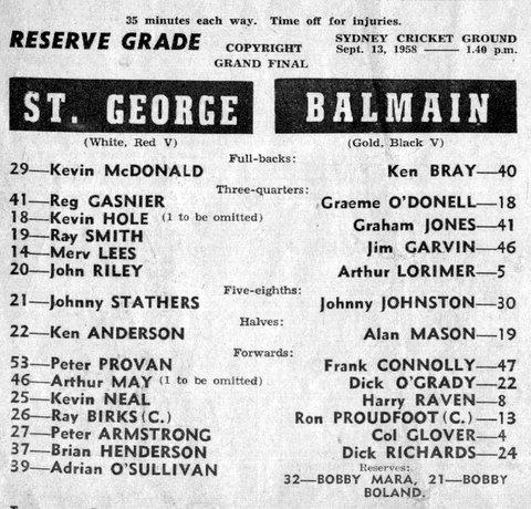 1958 b StG v Balmain reserve grade GF program