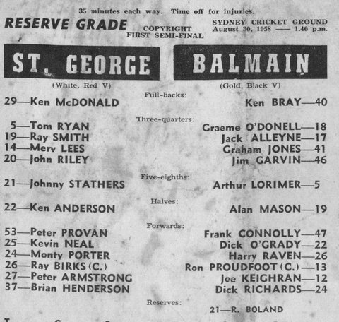 1958 b reserve grade semi Final program