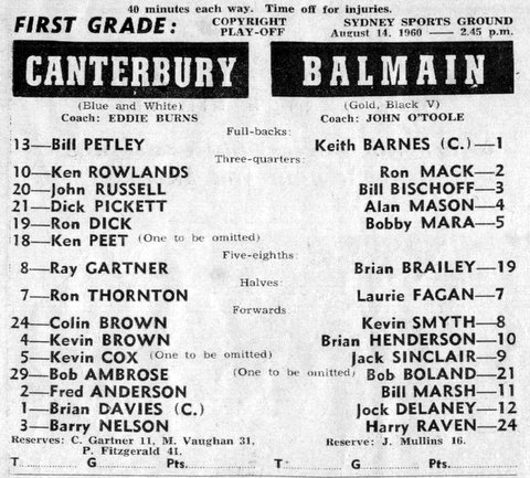 1960 b Balmain v Berries program