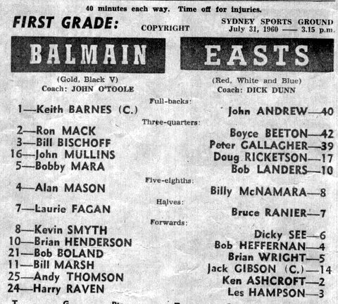1960 b Balmain v Easts program