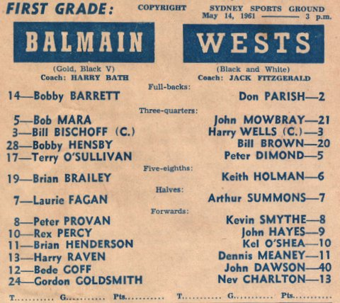 1961 b first grade game v Wests