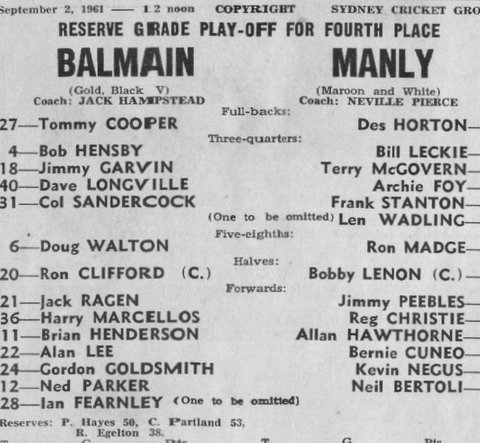 1961 b play off game Bal v Manly