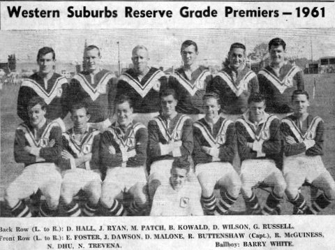 1961 new Wests team photo of reserve grad premiers.