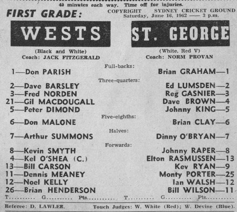1962 b Wests v Stg SCG June program