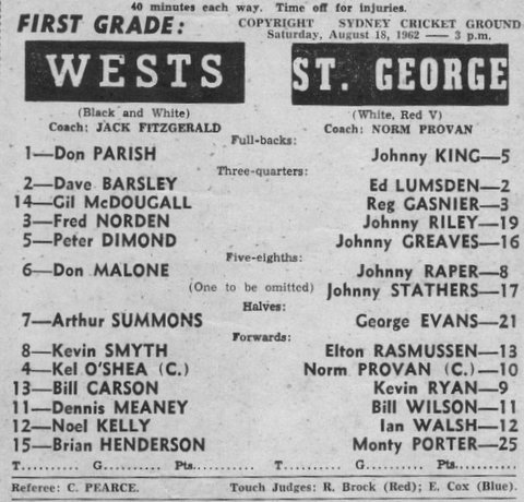 1962 b Wests v Stg program links photo os Wests team