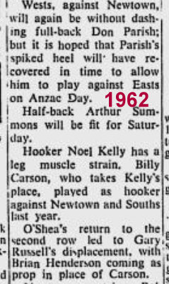 1962 big story on hendo Wests v Newtown