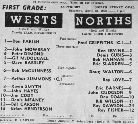 1963 B last game program with wests.