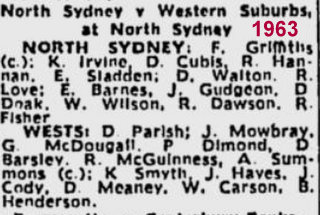 Wests V norths team names 1963