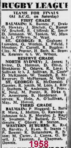 big team list 1955 finals. reserve grade