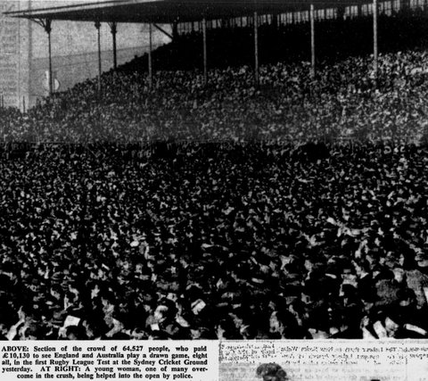 SCG 1st Test 1948 crowd scene