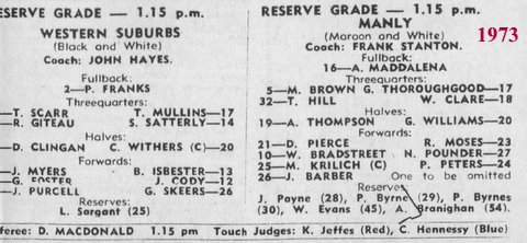 1973 first reserve grade game