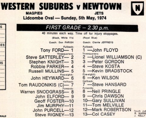 1974 JC name in program first time 1st grade