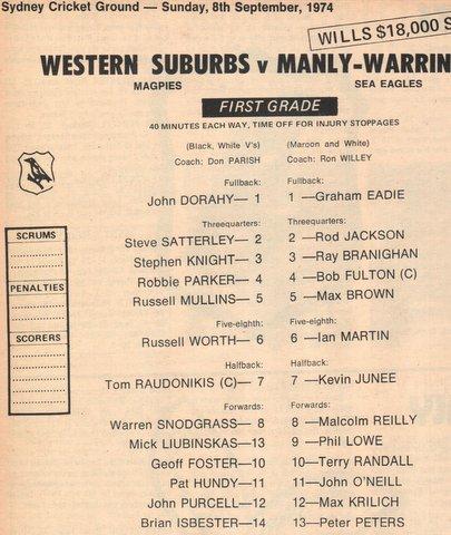 1974 Wes  v manly programe