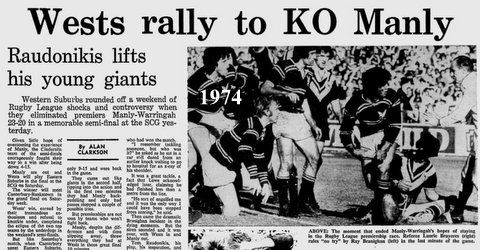 1974 Wests beat manly semi final story