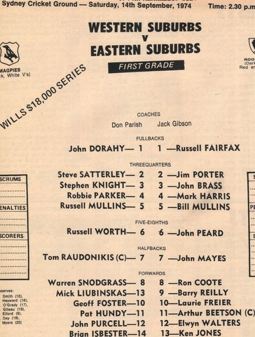 1974 Wests v Balmain program