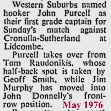 1976 JC capt of Wests v Cronulla