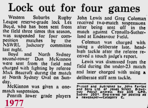 1977 Les Boyd out for 4 games Amco cup
