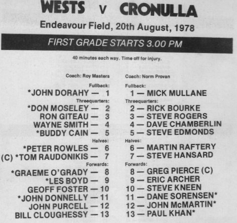 1978 Wests v Croulla game before semis
