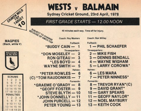 1978 Wests v balmain program