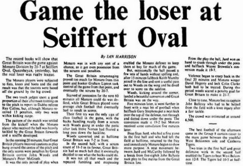 1979 Monaro V GB story about game.
