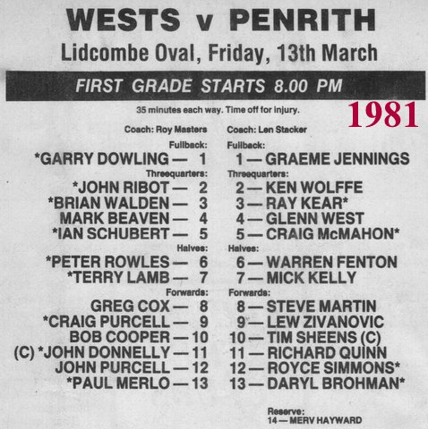 1981 JC last game for Wests.