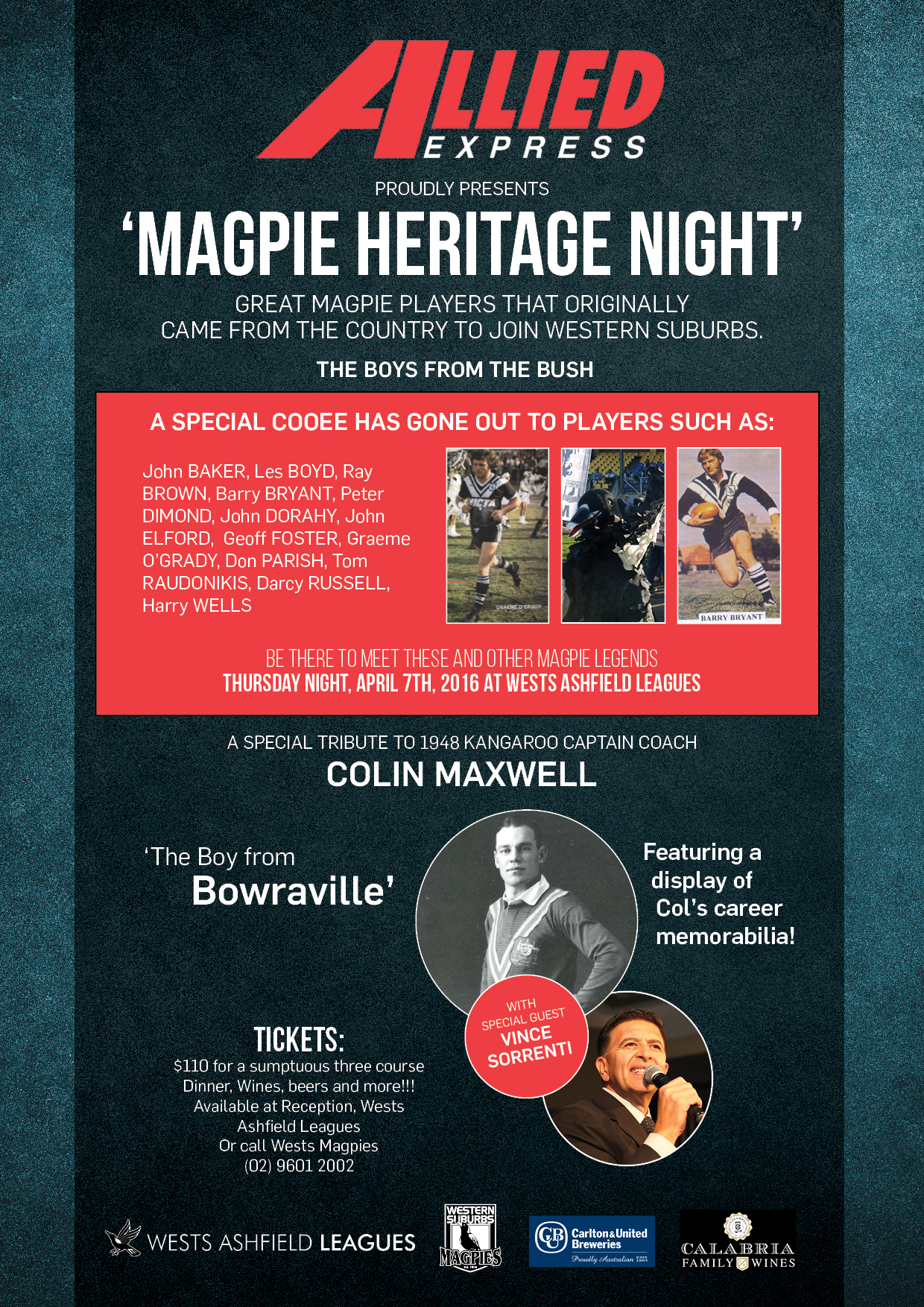 Magpie Heritage Night Flyer 2016 final. Maxwell