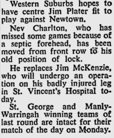 1955 Jim leg injury story.