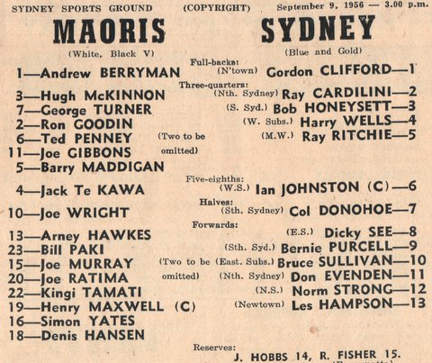1956 harry playing for syd v maoris