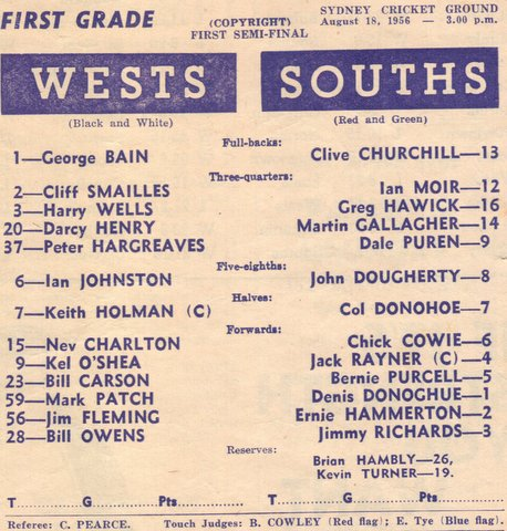 1956 wests v souths semi at scg