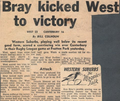 1964 top points score wests and second behind fred griffths