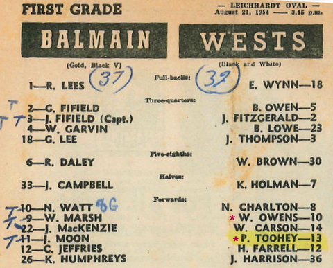 only first grade game 1954 v Balmain.