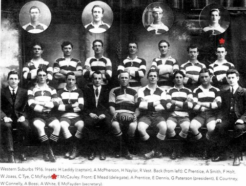 1916 Wests team photo Tom Boland Mc Cauley