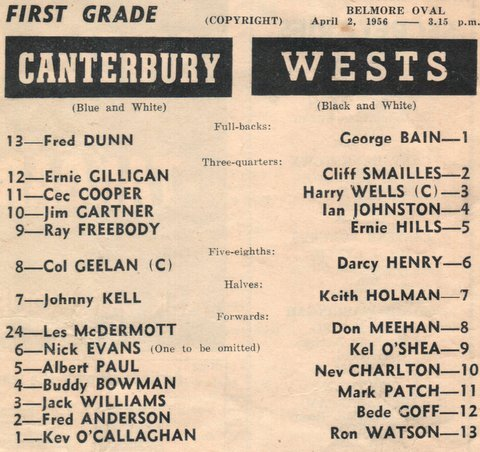 1956 harrys first game for wests and captain