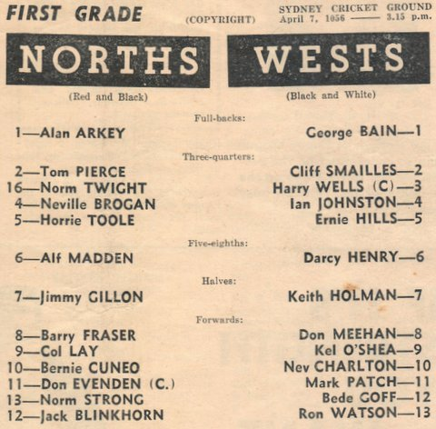 1956 hary first game at the scg for wests