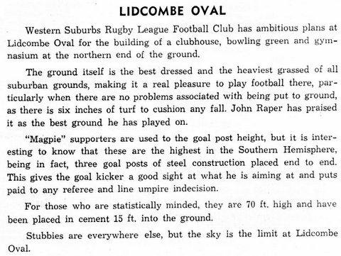 Lidcombe Oval height story 1971