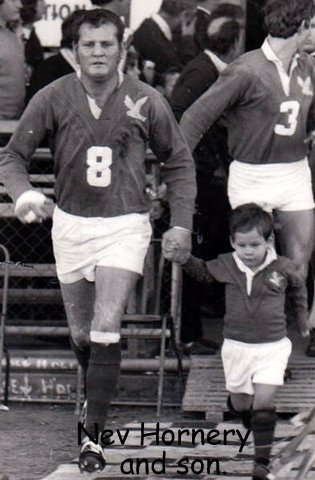 Nev Hornery running onto ground with son WM days