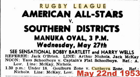 may 22nd advert Southern d at Manuka oval canberra