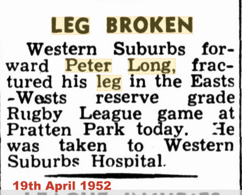 1952 sun newspaper broken leg story